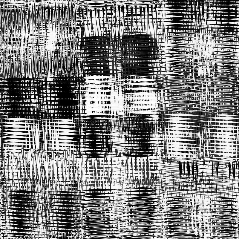 Sömlös latticed grunge gjorde randig modellen i svartvita färger stock illustrationer