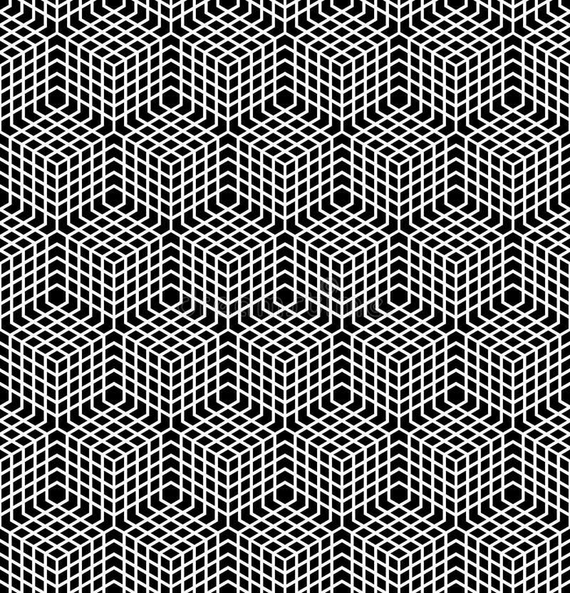 Sömlös latticed modell illusion 3D vektor illustrationer