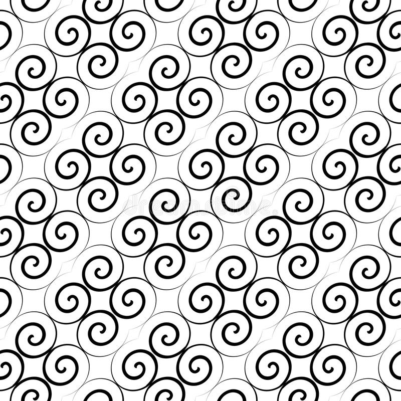 Sömlös latticed modell med krullning royaltyfri illustrationer
