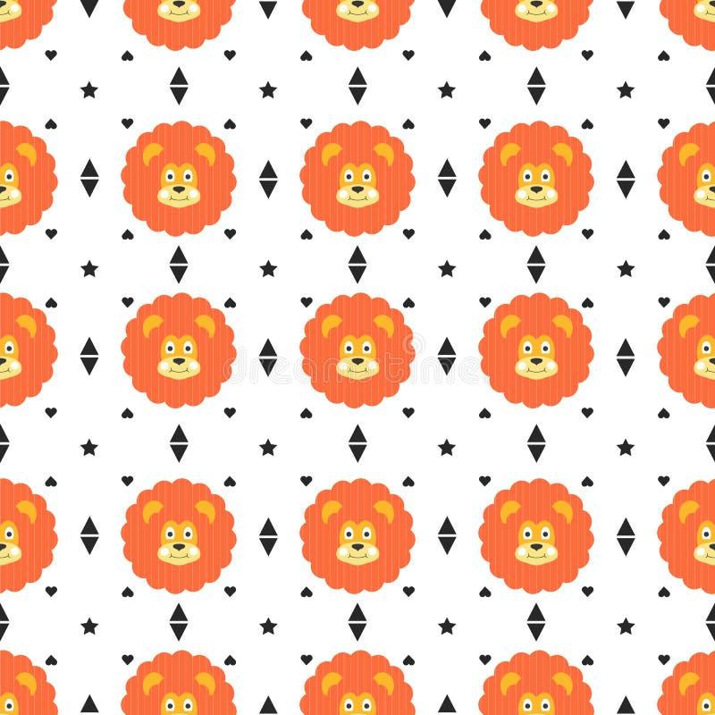 Sömlös lejonmodell royaltyfri illustrationer
