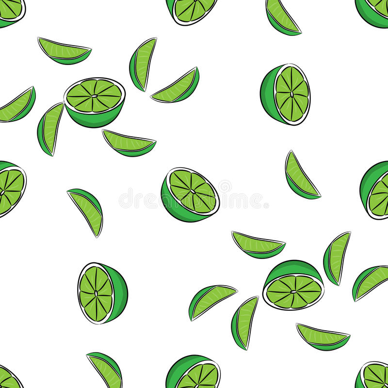 Sömlös limefruktmodell royaltyfri illustrationer