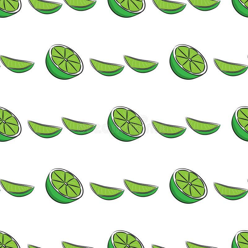 Sömlös limefruktmodell vektor illustrationer