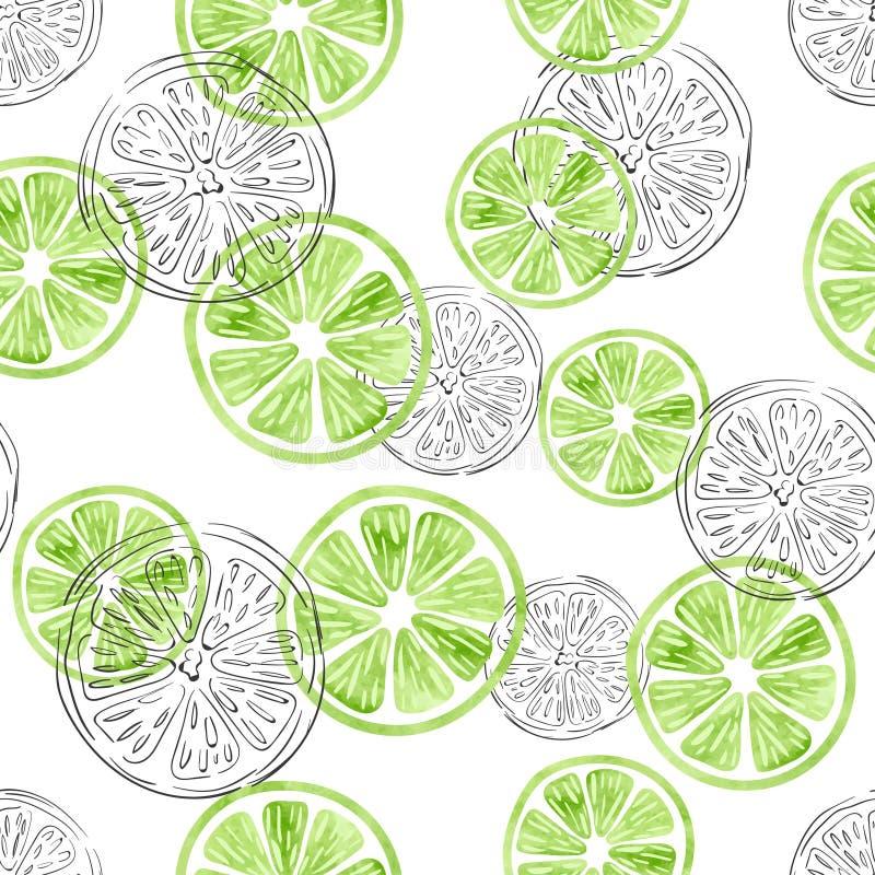 Sömlös limefruktmodell stock illustrationer