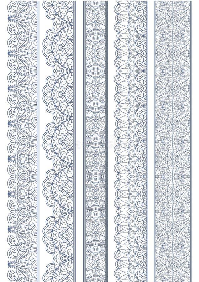 Sömlös linjär krabb gräns royaltyfri illustrationer