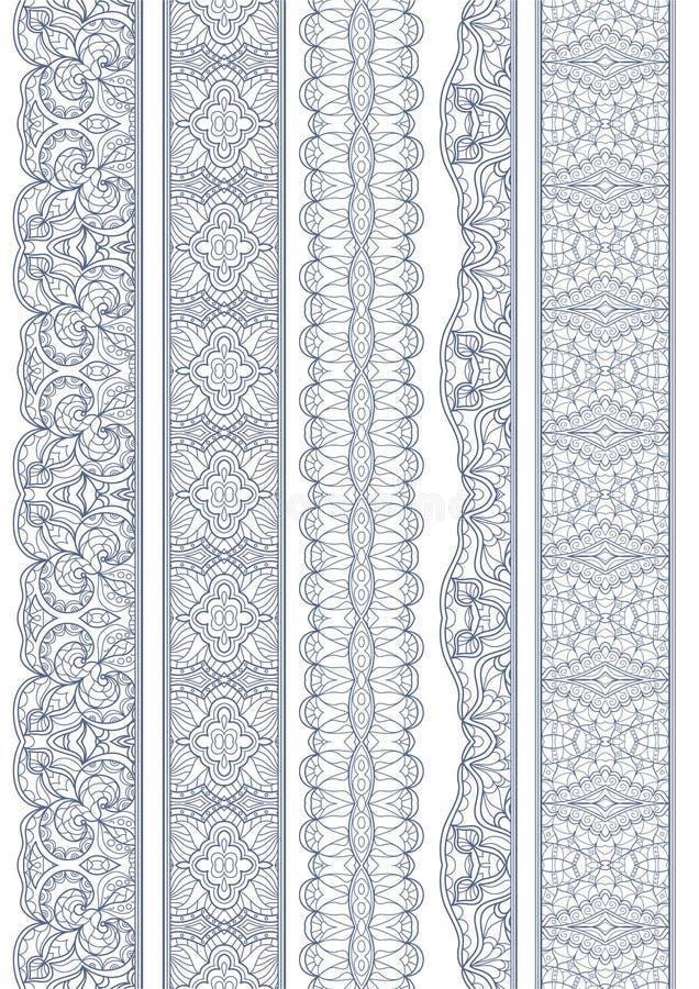 Sömlös linjär krabb gräns vektor illustrationer