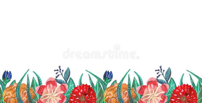 Sömlös linje av ljusa tropiska och mexikanska gouacheblommor royaltyfri illustrationer
