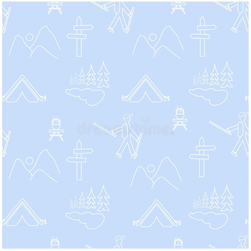 Sömlös linje stilmodell med turisten, skogen, sjön, berget, kullar, tältet på blå bakgrund för trekking och att fotvandra stock illustrationer