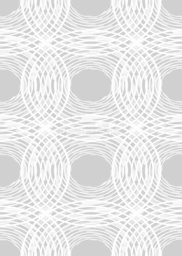 Sömlös ljus kontrastera bakgrund med ojämna cirkelbeståndsdelar, vit linje modeller på ljus - grå bakgrund, stock illustrationer
