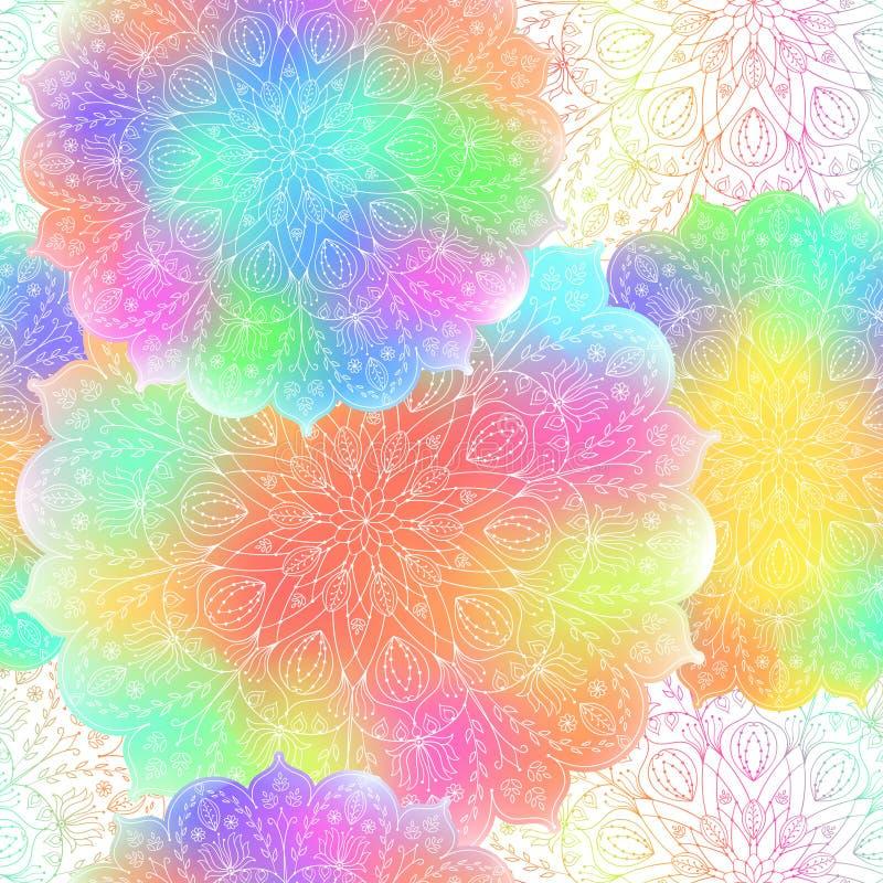 Sömlös ljus modell av mandalaen royaltyfri illustrationer