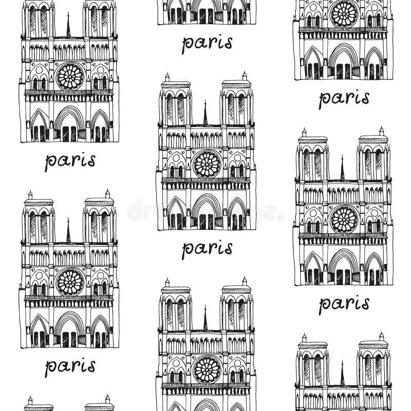 Sömlös loppbakgrund, modell med den utdragna fasaden för hand av Notre Dame de Paris vektor illustrationer
