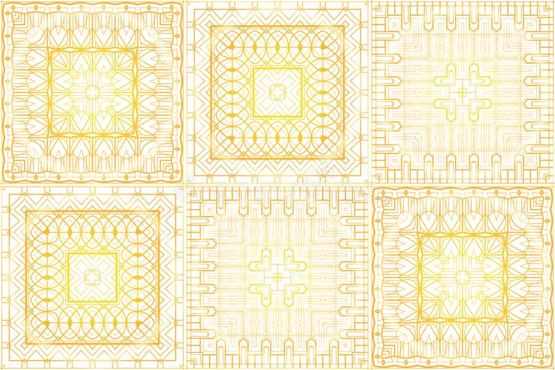 Sömlös lyxig guld- tappningtextur i retro art décostil Guld- modell på en vit bakgrund stock illustrationer