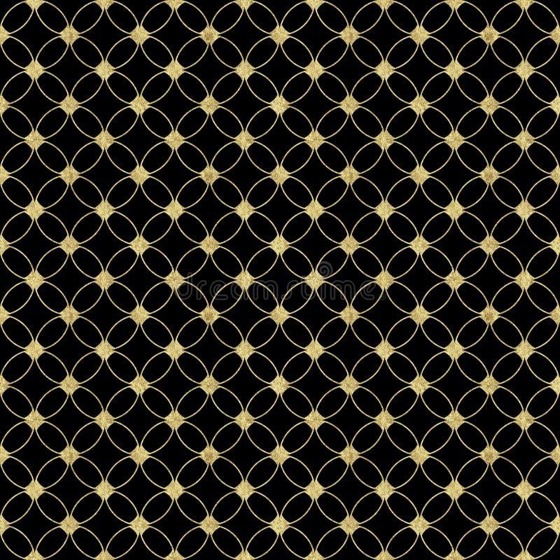 Sömlös lyxig svart bakgrund med abstrakt tappningguld blänker modellen stock illustrationer