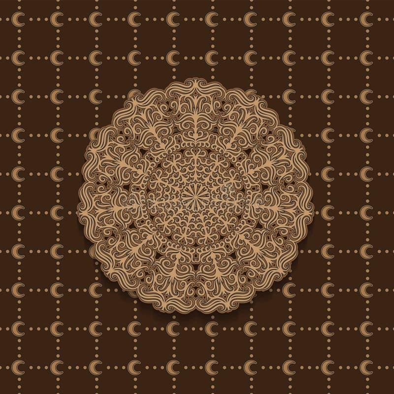 Sömlös månadmodell och cirklar, mandalamodell Bakgrundsbild för garnering bl? vektor f?r sky f?r oklarhetsbildregnb?ge vektor illustrationer