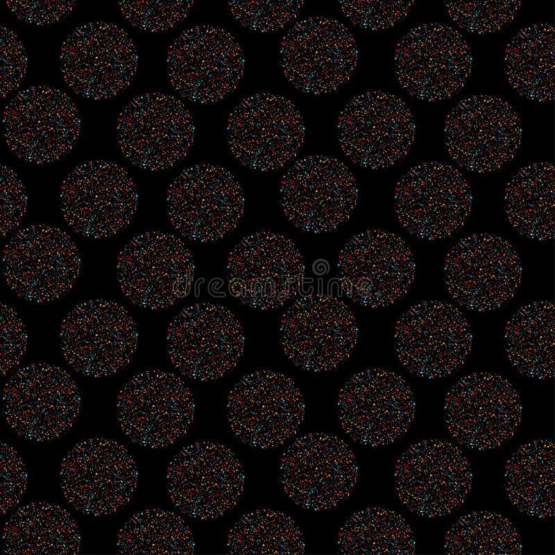 Sömlös mång--färgad prick för vektor modell på svart bakgrund stock illustrationer