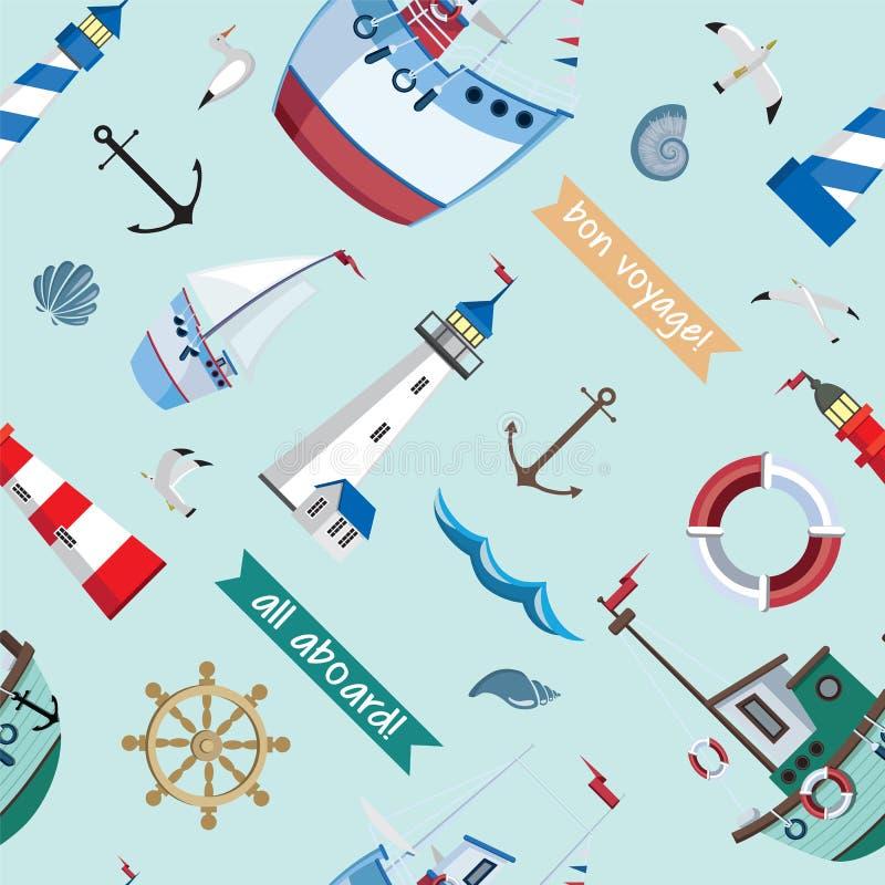 Sömlös marin- modell för vektor med fyrar, skepp, fiskmåsar, ankare, skal på blå bakgrund royaltyfri illustrationer