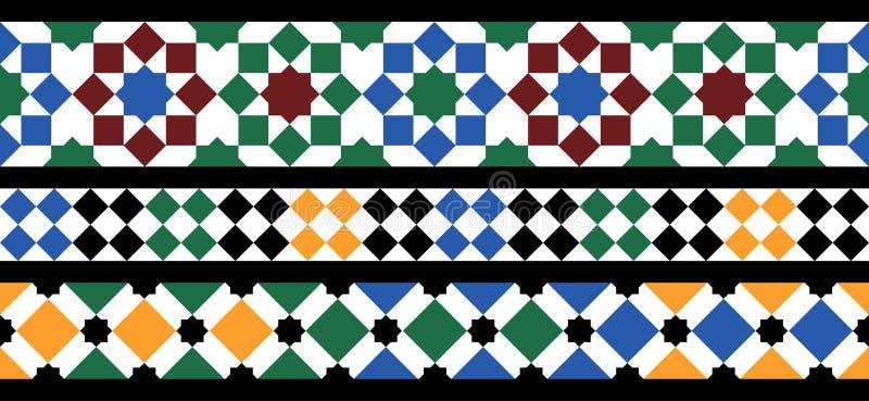 Sömlös marockansk mosaik stock illustrationer