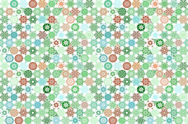 Sömlös mega ursnygg sömlös patchworkmodell för vektor från mörker - vita marockanska portugisiska tegelplattor för gräsplan och,  royaltyfri illustrationer