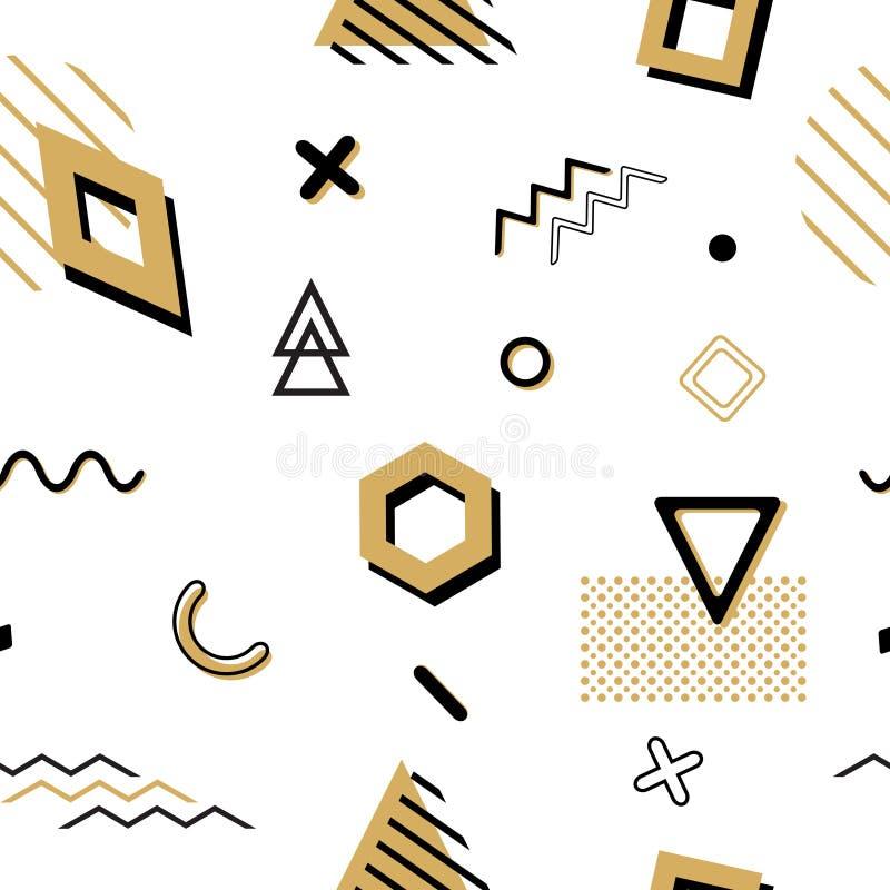 Sömlös memphis för vektor modell med geometriska beståndsdelar i svart och guld royaltyfri illustrationer