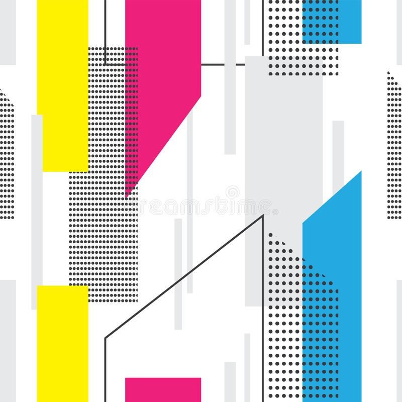 Sömlös memphis stilmodell med färgrika geometriska former stock illustrationer