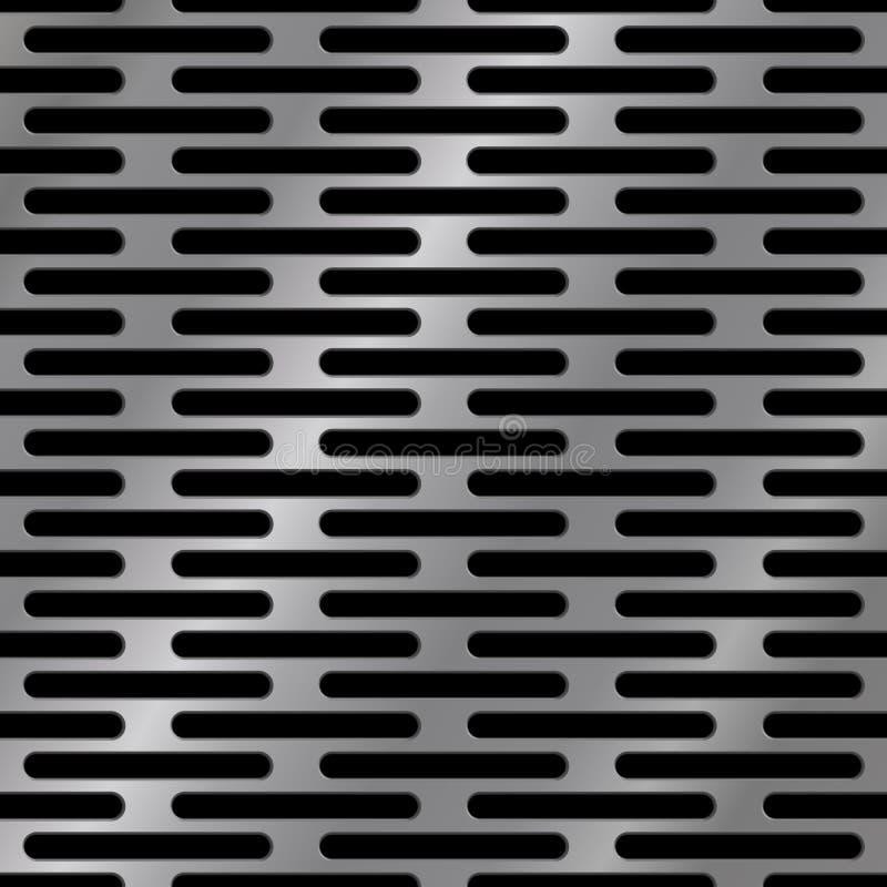 Sömlös metalltextur med hål, vektorillustration royaltyfri illustrationer