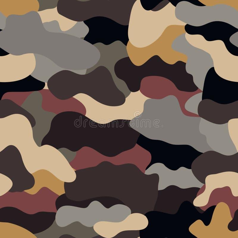Sömlös militär kamouflagetextur stock illustrationer