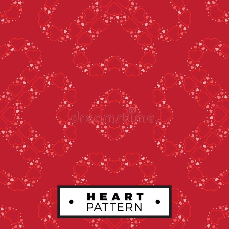 Sömlös modellöversiktshjärta som göras från små hjärtavalentin stock illustrationer