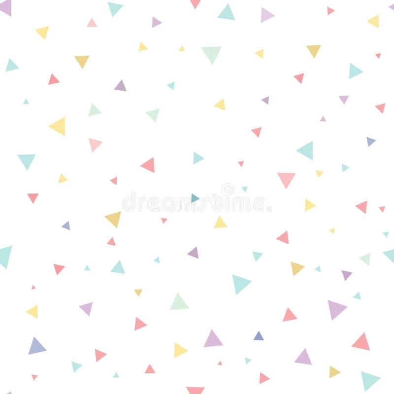 Sömlös modell, abstrakt fallande konfettitriangel med vit bakgrund, vektorillustration vektor illustrationer