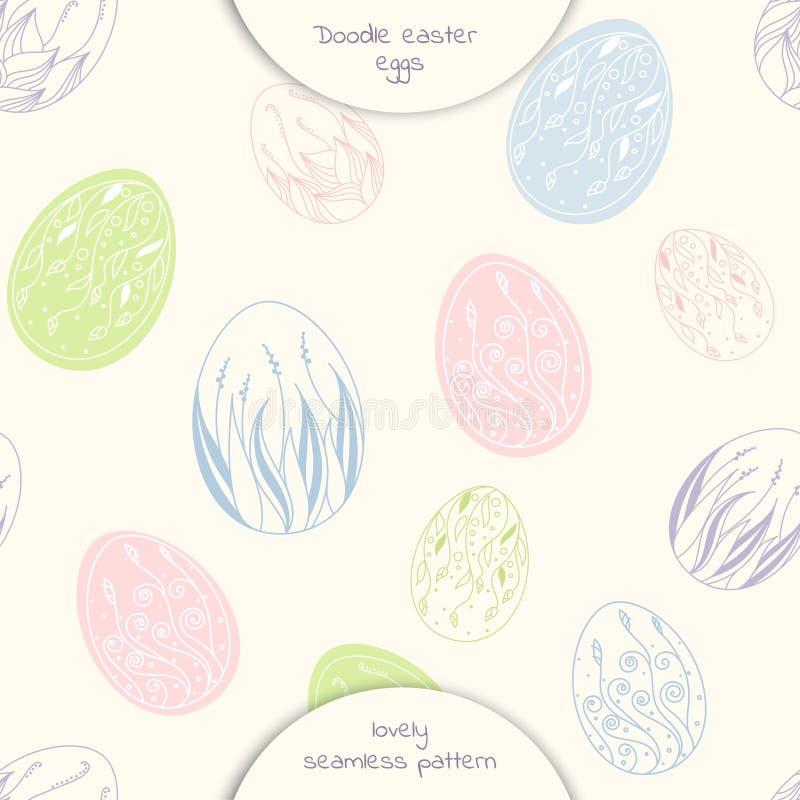 Sömlös modell av ägg för handteckningsklotter royaltyfri illustrationer