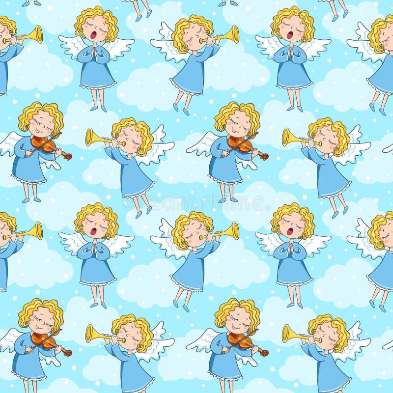Sömlös modell av änglar stock illustrationer