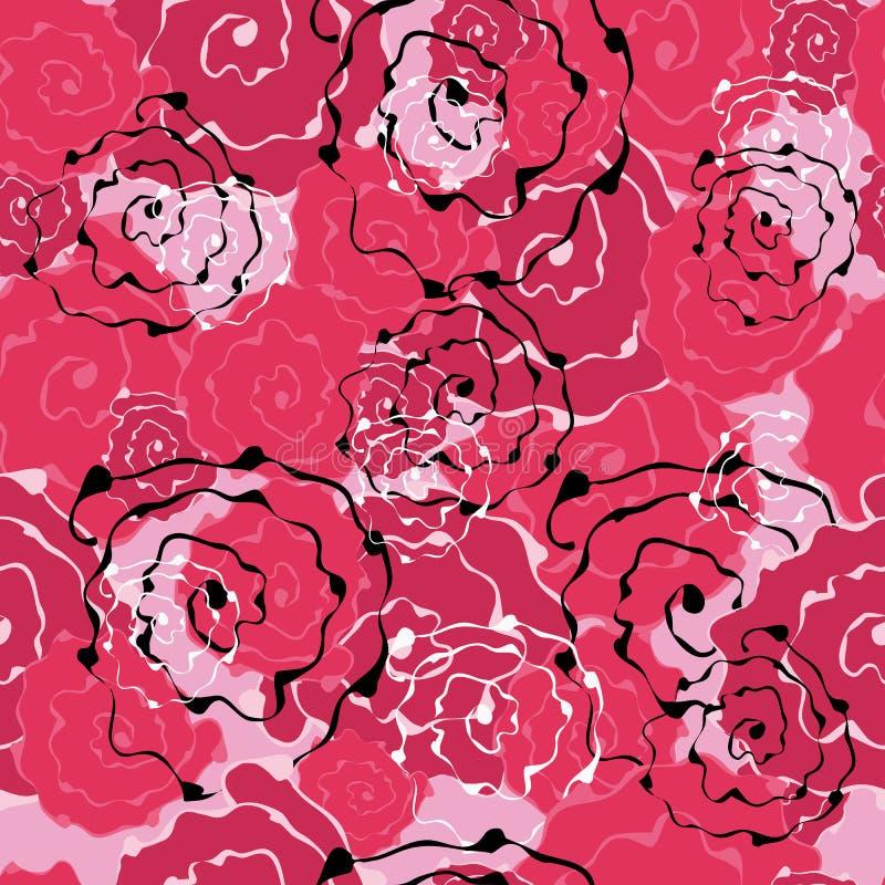 Sömlös modell av abstrakta blommarosor För designbakgrunder tapeter, räkningar, tyger stock illustrationer
