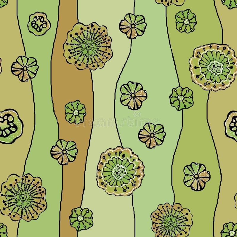 Sömlös modell av abstrakta blommor vallmo, solros Diagram på en vattenfärgbakgrund, för designen av bakgrunder, royaltyfri illustrationer