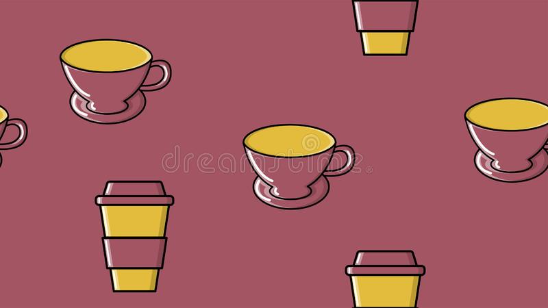 Sömlös modell av att upprepa exponeringsglas och keramiska koppar med en amerikansk espressoarabica för snabbt varmt stärkande ka stock illustrationer