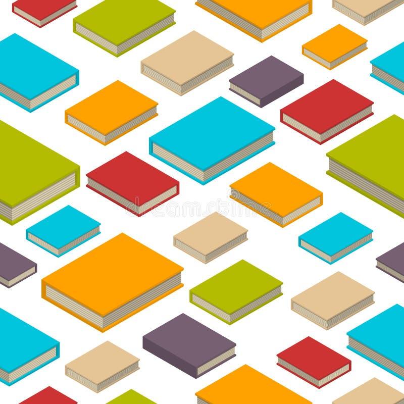 Sömlös modell av böcker Isometrisk plan stil royaltyfri illustrationer