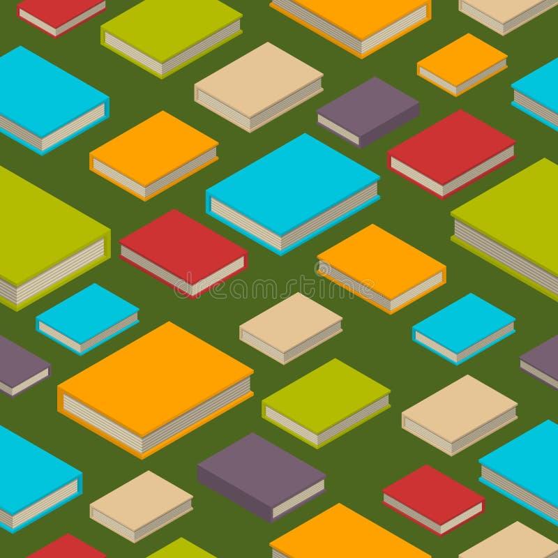 Sömlös modell av böcker Isometrisk plan stil stock illustrationer