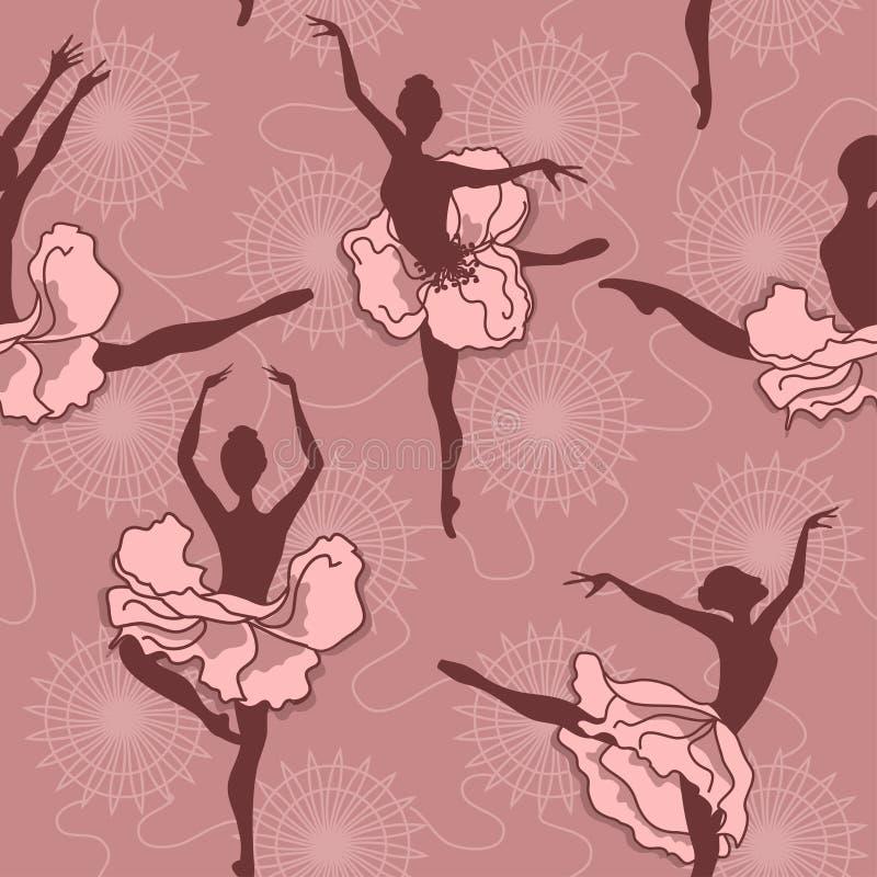 Sömlös modell av balettdansörer royaltyfri illustrationer