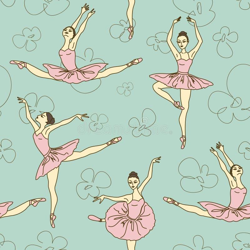 Sömlös modell av balettdansörer stock illustrationer