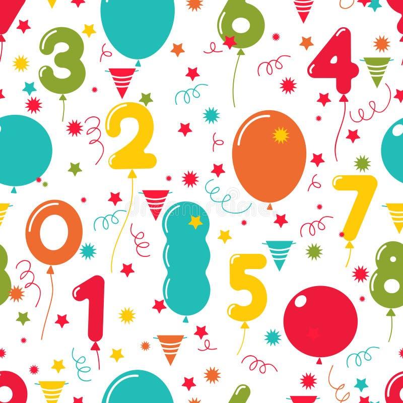 Sömlös modell av ballonger för födelsedagparti stock illustrationer