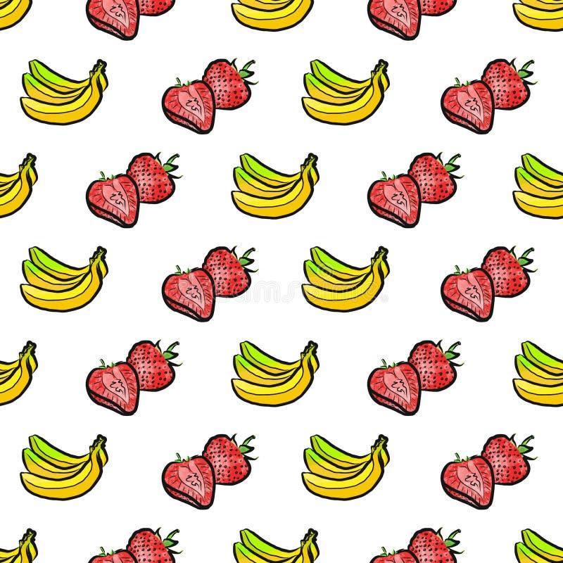 Sömlös modell av bananer och jordgubbar stock illustrationer