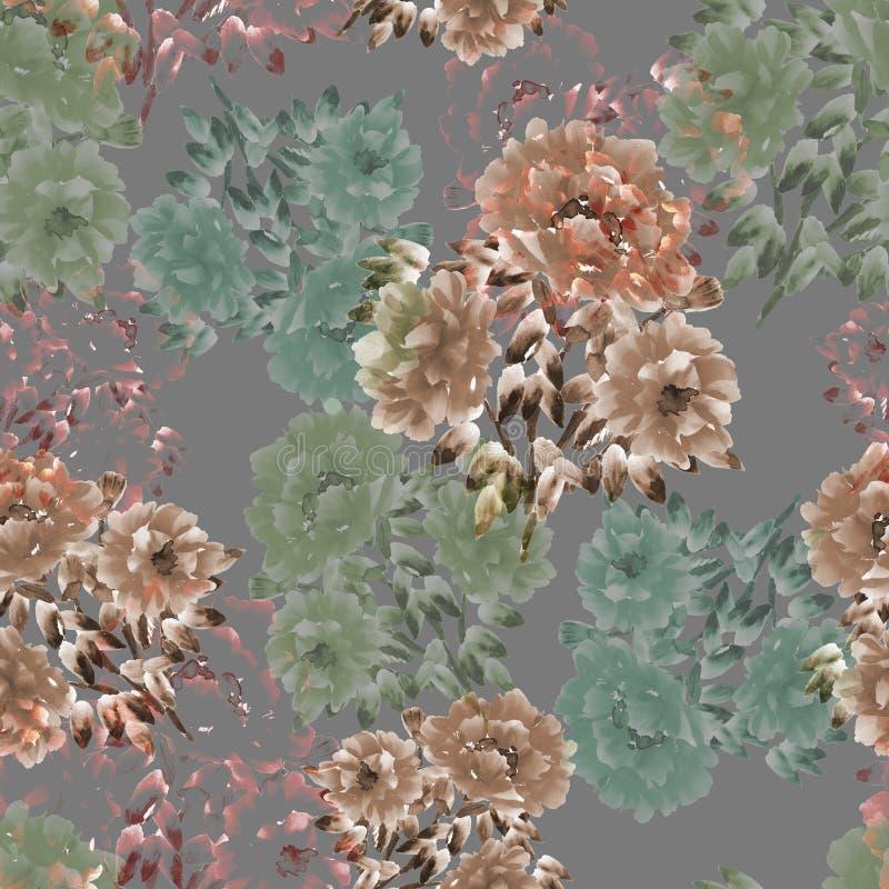 Sömlös modell av beiga- och gräsplanblommor av pioner på en djup grå bakgrund vektor för detaljerad teckning för bakgrund blom- v vektor illustrationer