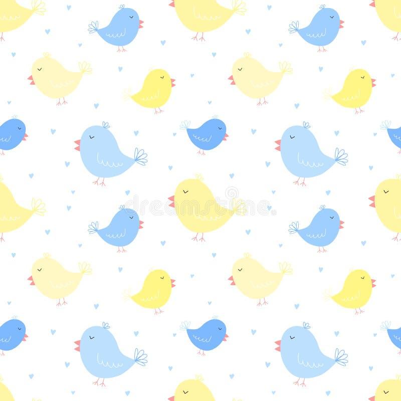 Sömlös modell av blåa och gula fåglar med hjärtor Vektorbild för pojke och flicka Illustration för ferie, baby shower, födelse vektor illustrationer