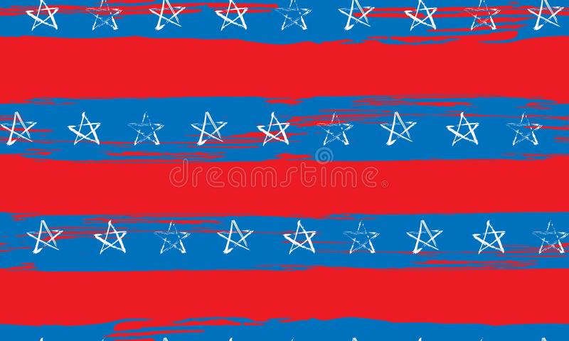 Sömlös modell av blåa röda vita stjärnor och bandgrunge royaltyfri illustrationer