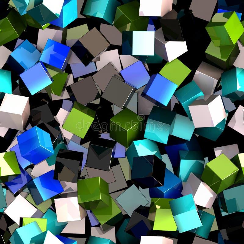Sömlös modell av blått, gräsplan, svartvita kulöra kuber vektor illustrationer