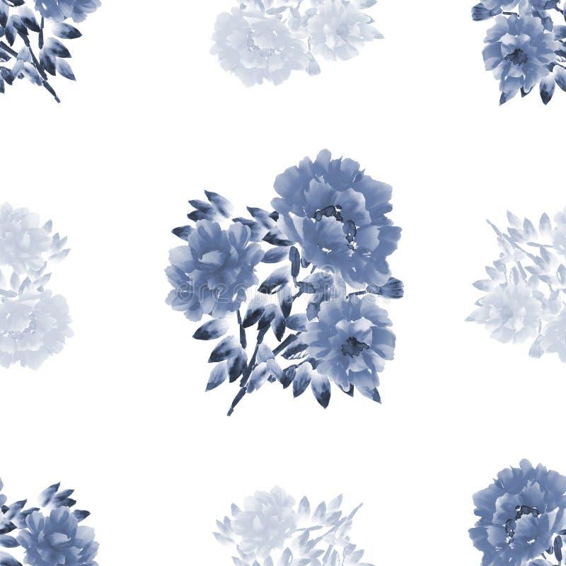 Sömlös modell av blått- och grå färgblommor av pioner på en vit bakgrund vattenfärg stock illustrationer