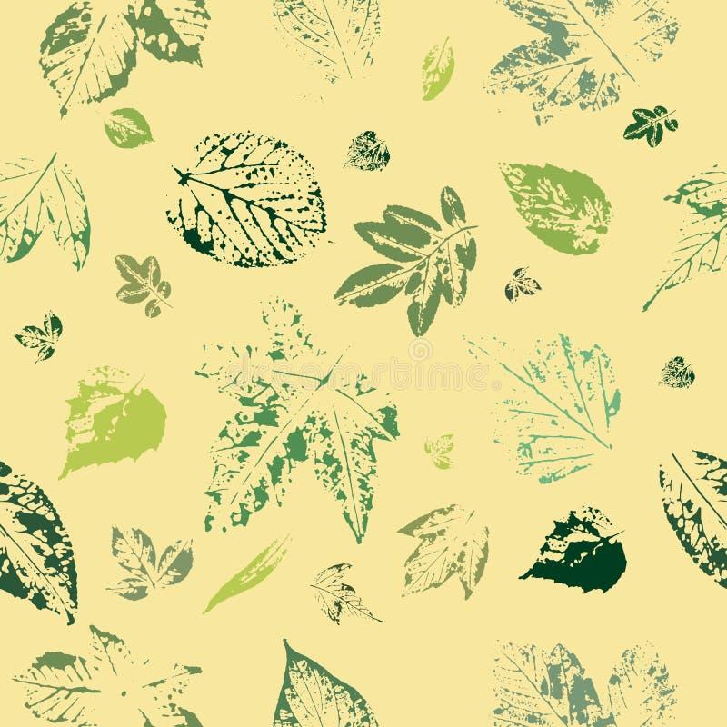 Sömlös modell av bladtryck på gul bakgrund Vykort med sidatryck Leaves av trees royaltyfri illustrationer