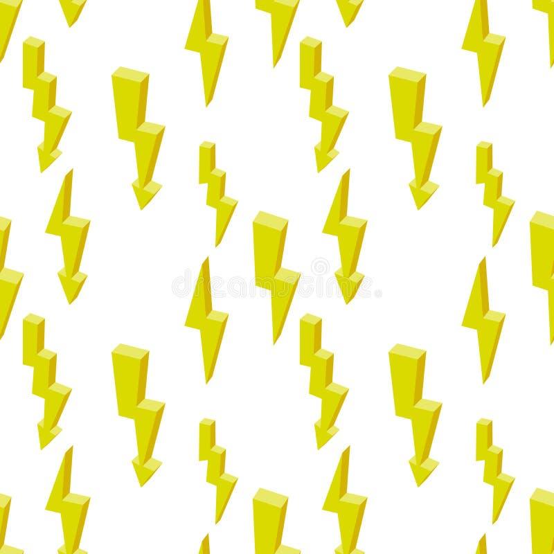 Sömlös modell av blixt på en vit bakgrund Energisymbol Isometrisk 3d royaltyfri illustrationer