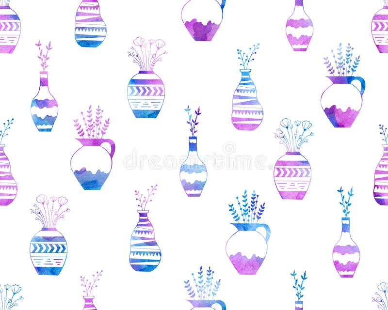 Sömlös modell av blommor i vaser i den blå vattenfärgen som är rosa och vektor illustrationer