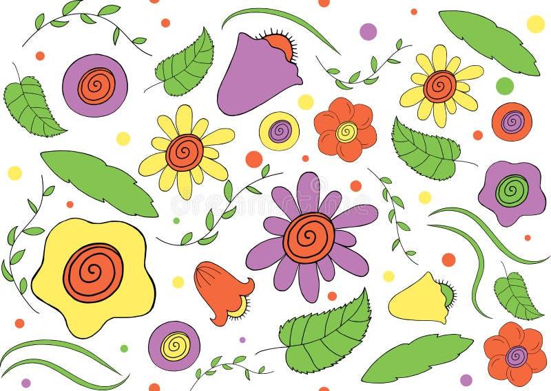 Sömlös modell av blommor och lövverk vektor illustrationer