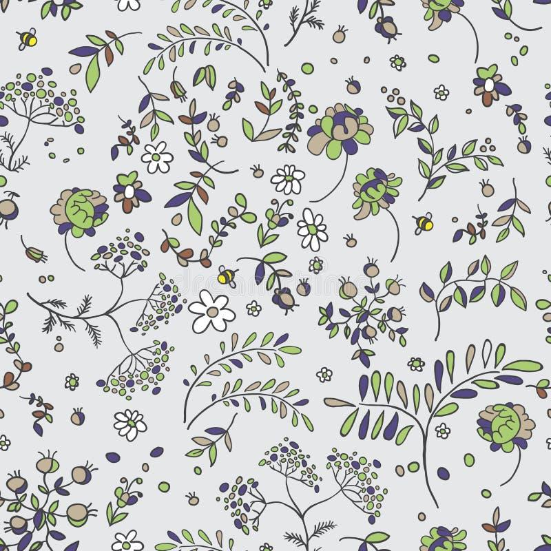 Sömlös modell av blommor, sidor, ris Blom- tyg royaltyfri illustrationer
