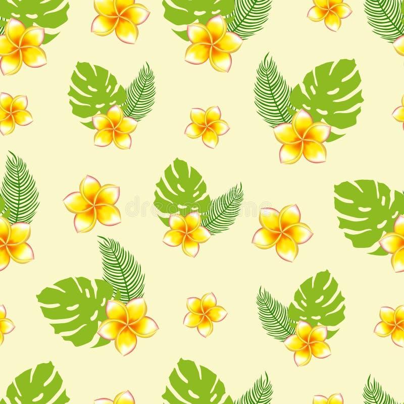 Sömlös modell av buketter av tropiska växter royaltyfri illustrationer