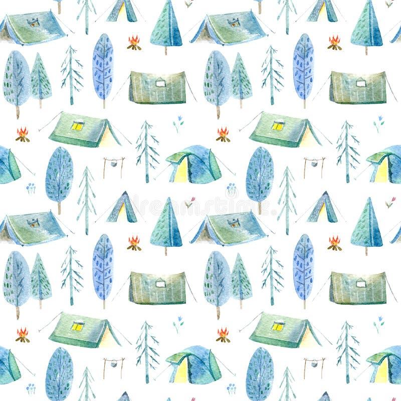 Sömlös modell av campa i träna Tält, träd, brasa, växter och blom- royaltyfri illustrationer